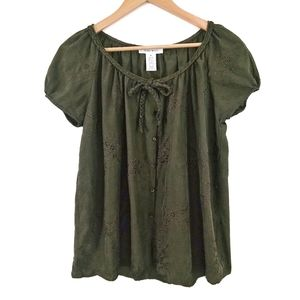 Nine West Silk Embroidery Blouse